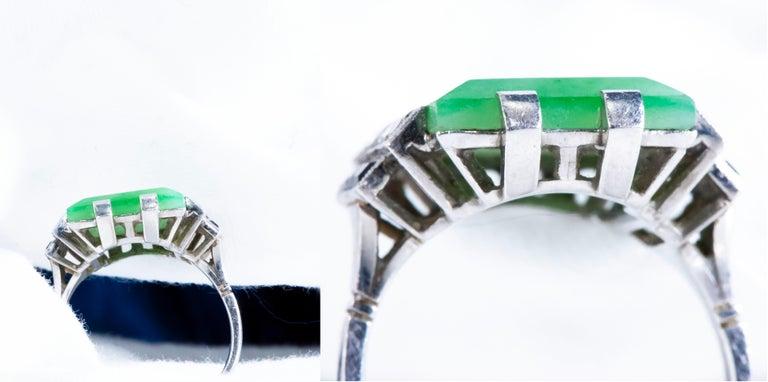 Emerald Cut Jade Art Deco 1920s French Hallmarked Platinum Onyx Diamond Set Carat Large Ring For Sale