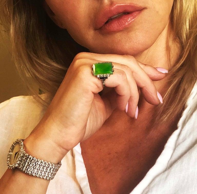 Women's or Men's Jade Art Deco 1920s French Hallmarked Platinum Onyx Diamond Set Carat Large Ring For Sale