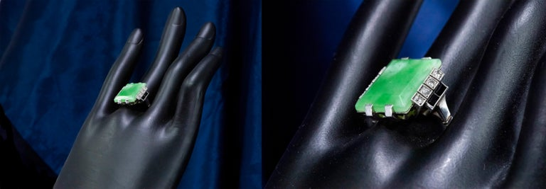 Jade Art Deco 1920s French Hallmarked Platinum Onyx Diamond Set Carat Large Ring For Sale 1