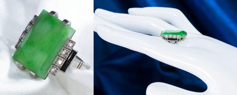 Jade Art Deco 1920s French Hallmarked Platinum Onyx Diamond Set Carat Large Ring For Sale 2