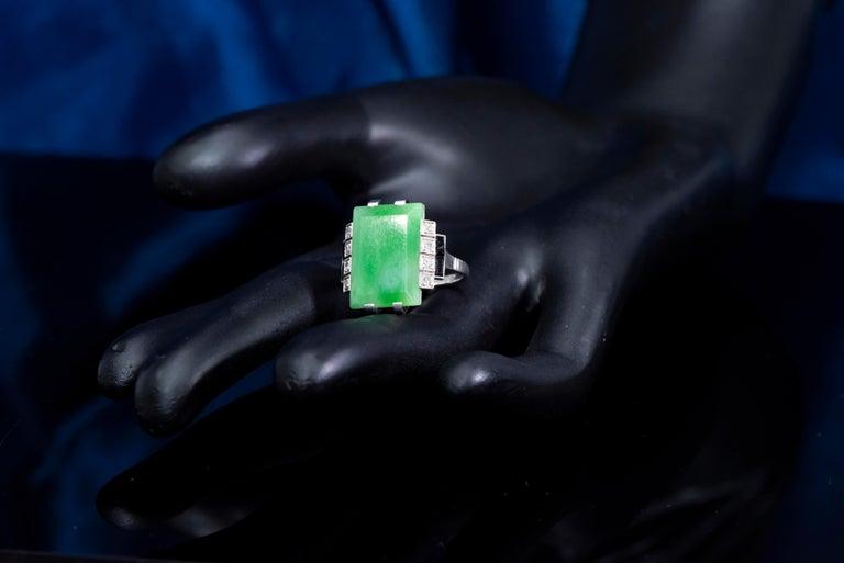 Jade Art Deco 1920s French Hallmarked Platinum Onyx Diamond Set Carat Large Ring For Sale 4