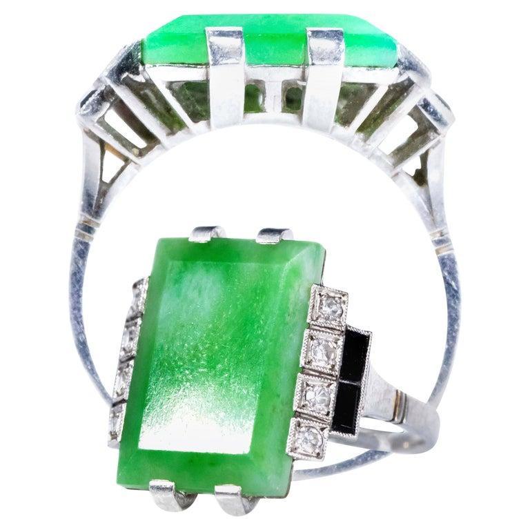 Jade Art Deco 1920s French Hallmarked Platinum Onyx Diamond Set Carat Large Ring For Sale