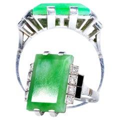 Jade Art Deco 1920s French Hallmarked Platinum Onyx Diamond Set Carat Large Ring