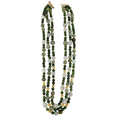 3-Strand Multi-colored Jade Beaded Necklace with 18k and 22k Yellow Gold Accents
