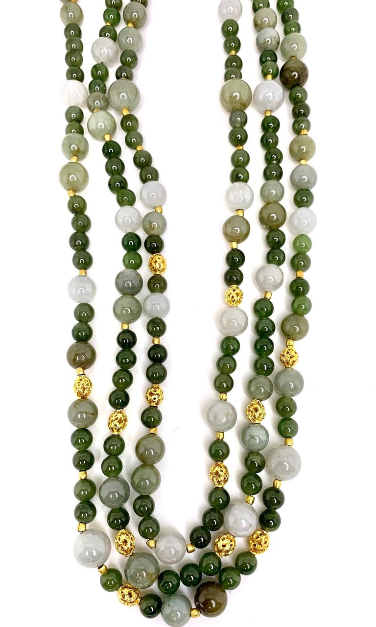 Artisan 3-Strand Multi-colored Jade Beaded Necklace with 18k and 22k Yellow Gold Accents For Sale