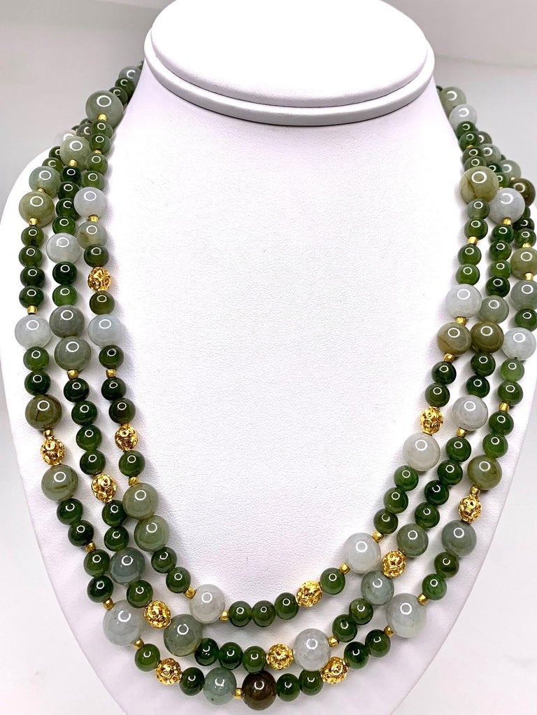 3-Strand Multi-colored Jade Beaded Necklace with 18k and 22k Yellow Gold Accents In New Condition For Sale In Los Angeles, CA