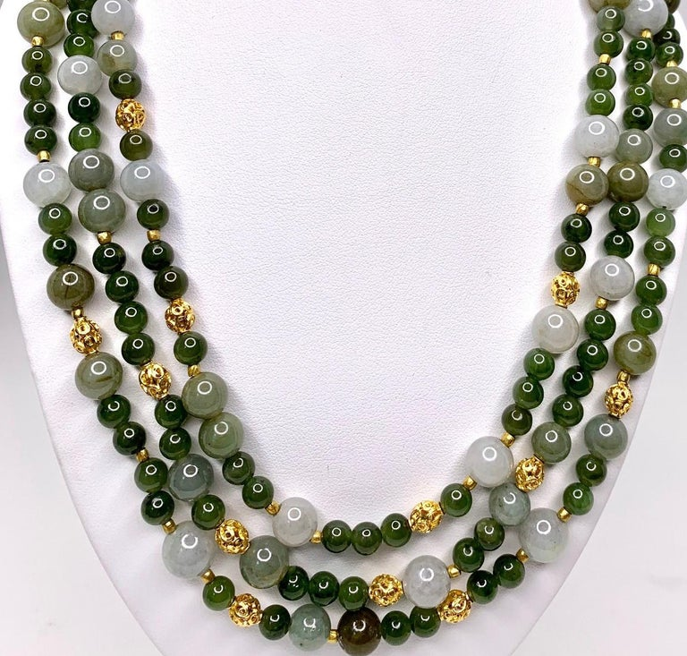 Women's 3-Strand Multi-colored Jade Beaded Necklace with 18k and 22k Yellow Gold Accents For Sale