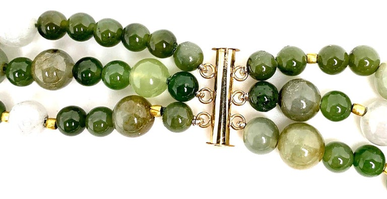 3-Strand Multi-colored Jade Beaded Necklace with 18k and 22k Yellow Gold Accents For Sale 1