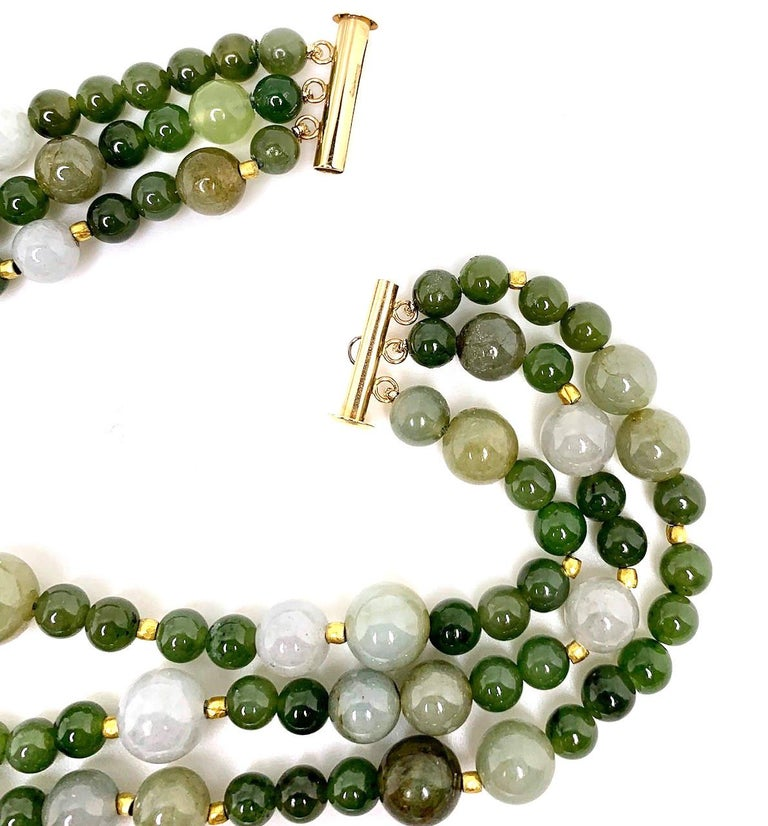 3-Strand Multi-colored Jade Beaded Necklace with 18k and 22k Yellow Gold Accents For Sale 2