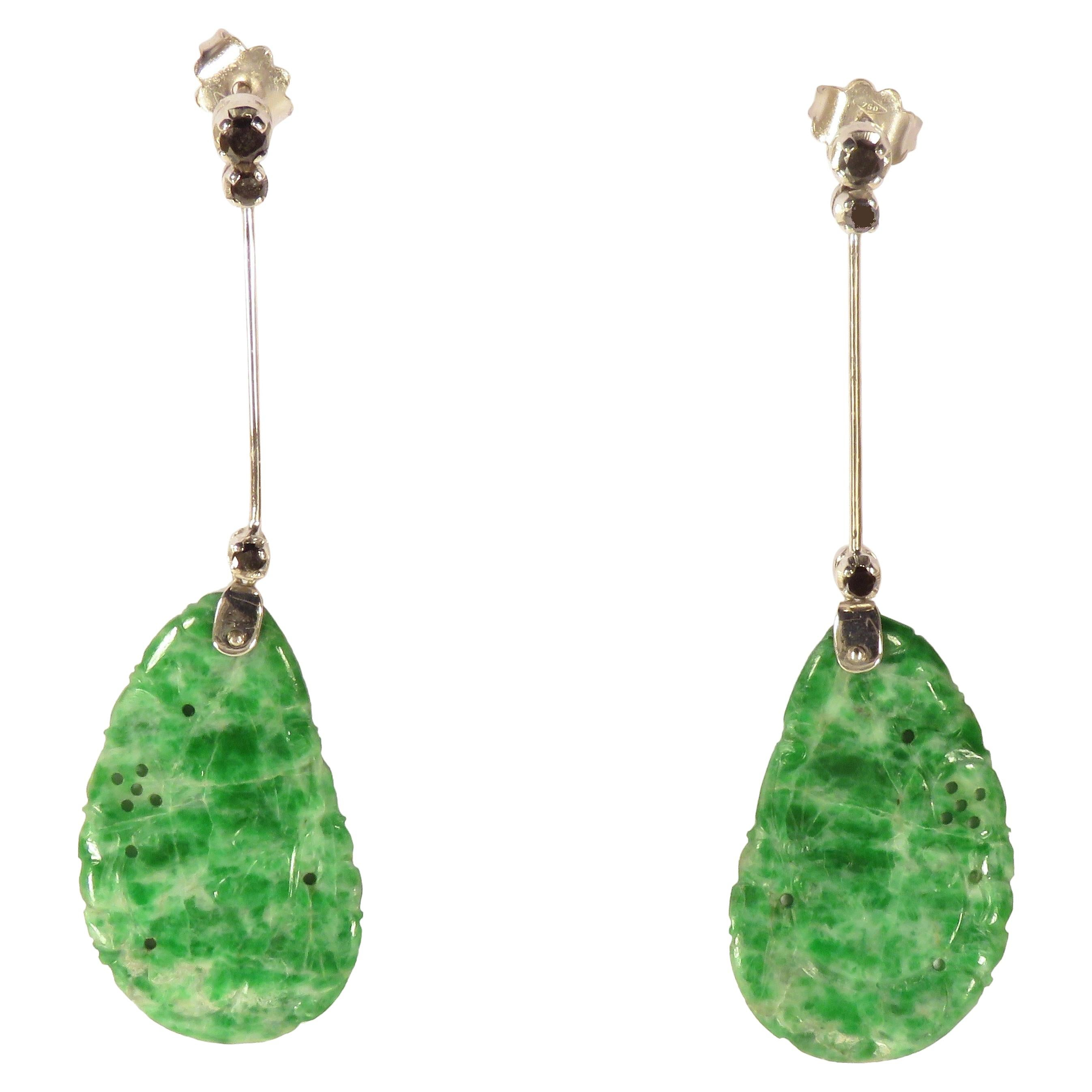 Natural Jade Black Diamonds White Gold Dangle Earrings Handcrafted in Italy