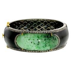Jade Black Enamel Bangle in Silver with Diamonds