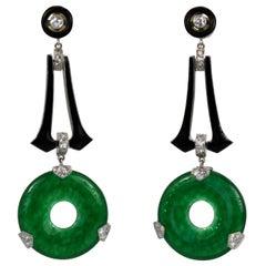 Jade Black Enamel Diamond Drop Earrings