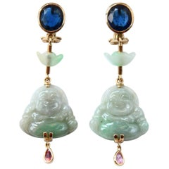 Jade Blu Sapphire Tormaline 18 Karat Gold Buddha Earrings