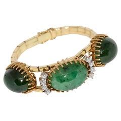 Jade Bracelet, Bangle, 18 Karat Gold with Diamonds