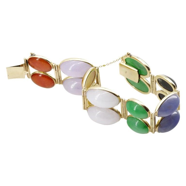 Jade Bracelet of Extraordinary Color Certified Untreated For Sale
