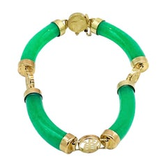 Jade Bracelet, Tubular with Chinese Symbol Links