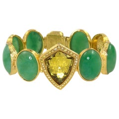Jade Bracelet with Yellow Diamonds