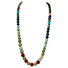 Jade Carnelian Lapis Malachite Tiger's Eye 14 Karat Gold Necklace Dog Clip