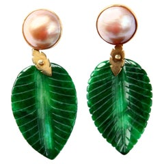 Jade Carved Leaf Gold Mabè Pearl 18 Karat Gold Earring