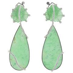 Jade Chrysoprase Diamond 18 KT White Gold Earrings