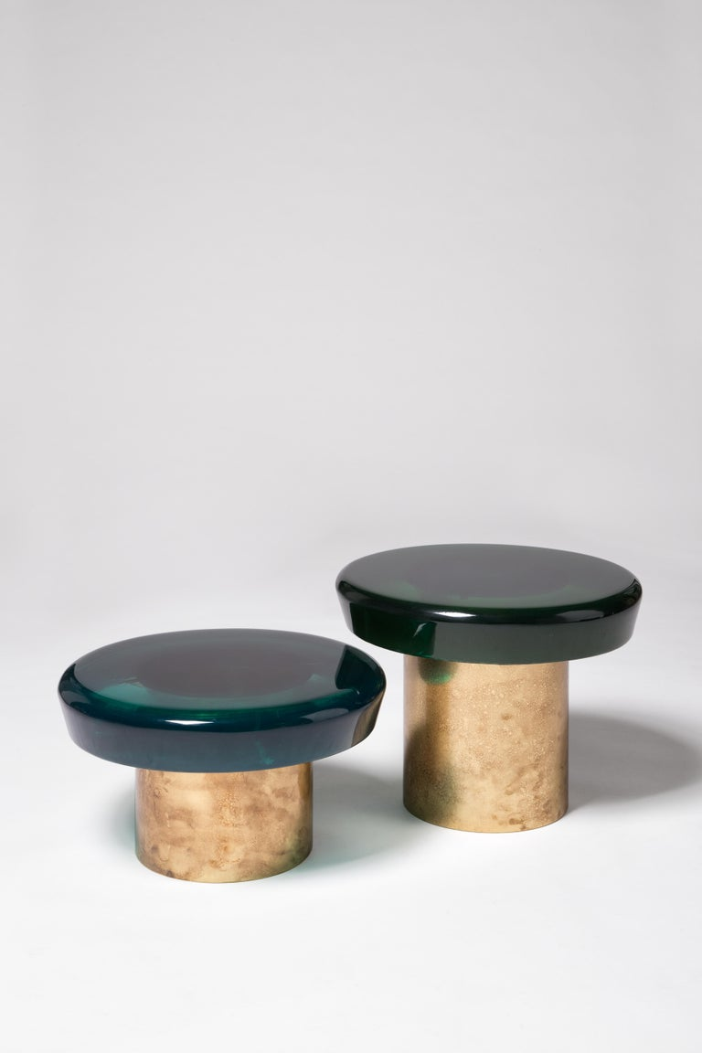 Italian Jade Coffee Table Low by Draga&Aurel Resin and Brass, 21st Century For Sale