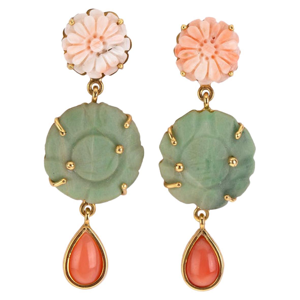 Jade Coral 18 Karat Gold Earrings