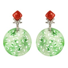 Jade Coral Diamonds 18 Karat White Gold Dangle Earrings