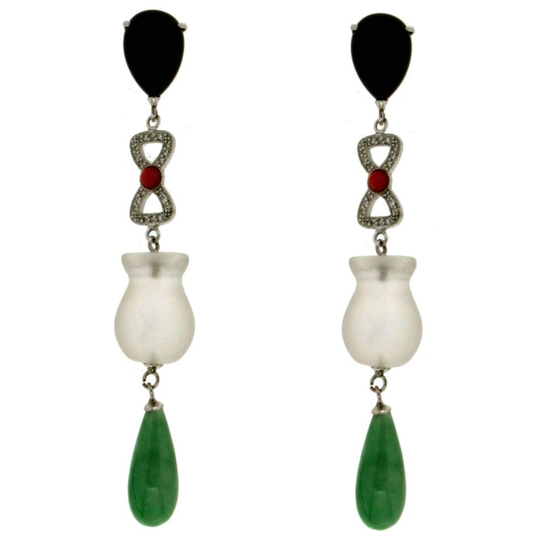 Jade Crystal Rock Onyx Gold Diamonds Drop Earrings