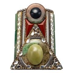 Jade Cuff Bracelet by Iconic 1980s Designer Wendy Gell