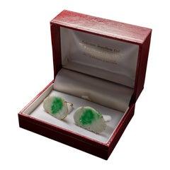 Jade Cufflinks from Falconer Jewellers Hong Kong Circa 1950s Certified Untreated