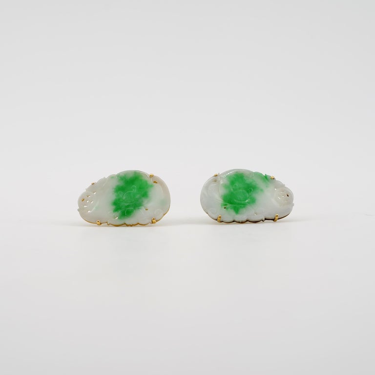 Certified Untreated Jade Cufflinks circa 1950 from Hong Kong Falconer Jewellers For Sale 1