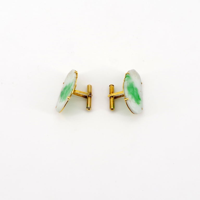 Women's Certified Untreated Jade Cufflinks circa 1950 from Hong Kong Falconer Jewellers For Sale