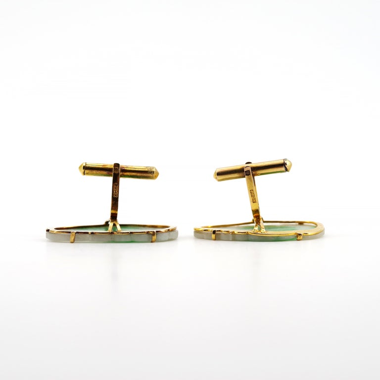 Certified Untreated Jade Cufflinks circa 1950 from Hong Kong Falconer Jewellers For Sale 4