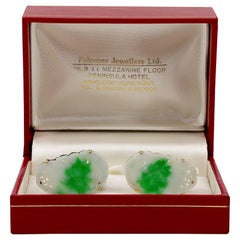 Certified Untreated Jade Cufflinks Circa 1950 from Hong Kong Falconer Jewellers