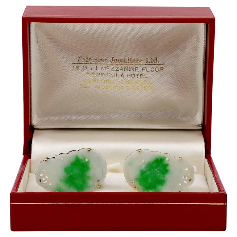 Certified Untreated Jade Cufflinks circa 1950 from Hong Kong Falconer Jewellers For Sale 7