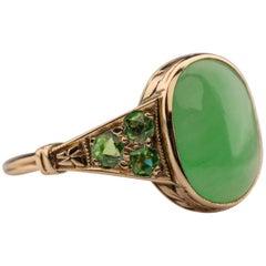 Jade & Demantoid Garnet Ring Victorian Era