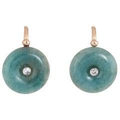 Jade Diamond Disc Earrings Vintage 18 Karat Gold Round Drop Estate Jewelry