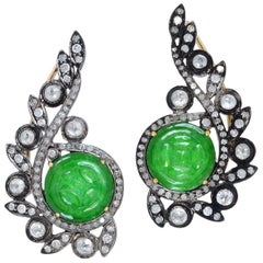 Jade Diamond Ear Cuff Earrings