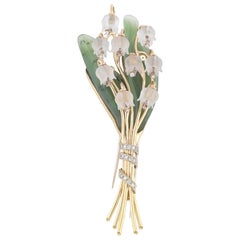 Jade Diamond Gold Lily of the Valley Brooch