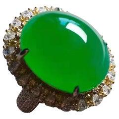 Jade  Yellow Diamond Ring 18 Karat White Gold
