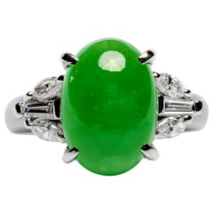Jade & Diamond Ring in Platinum Certified Untreated