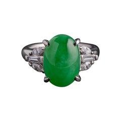 Jade & Diamond Ring in Platinum Certified Untreated