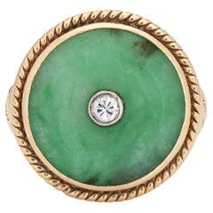Jade Diamond Ring Vintage 14k Yellow Gold Round Cocktail Jewelry Estate
