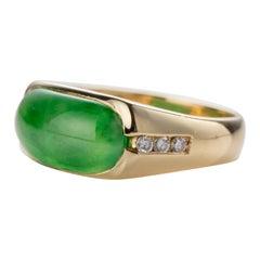Jade & Diamond Saddle Ring Fine Emerald Green Certified Untreated