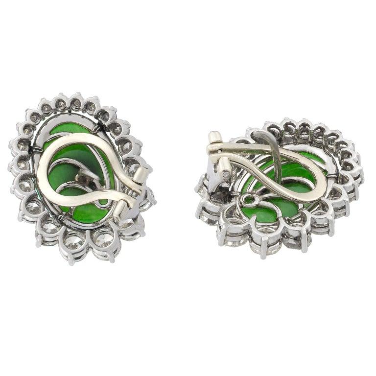 Women's Jade Diamonds 18 Karat White Gold Earrings For Sale