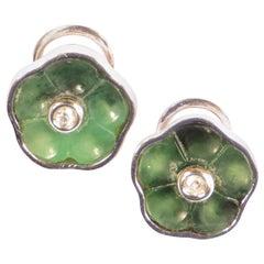 Jade Diamonds 18 Karat White Gold Earrings Handcrafted in Italy, Botta Gioielli