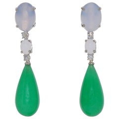 Jade, Diamonds and Chalcedony White Gold Chandelier Earrings