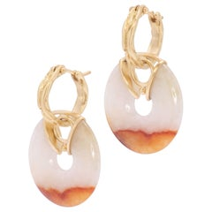 Jade Disk Drop Earrings in 18 Karat Gold