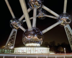 """Brussels 1958 World's Fair, """"A New Humanism"""" Atomium at Night 40""""x50"""" photograph"""