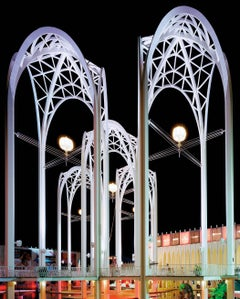 """Seattle '62 World's Fair, """"Century 21 Exposition"""" Science Center Arches at Night"""